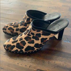 Cole Haan Cheetah Leopard Slip on Mules Heels